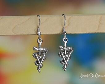 Sterling Silver Veterinarian Earrings Fishhook Earwires Solid .925 Vet