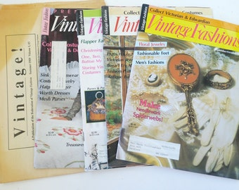 Lot of 6 Vintage Fashion magazines 1989 1990 antiques back issues design collecting reference