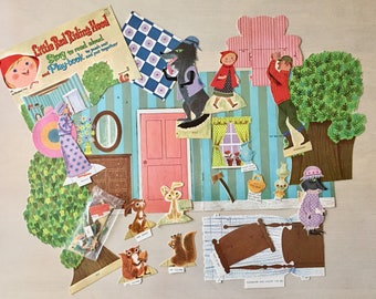 Vintage Paper Dolls and Play Set- Little Red Riding Hood- 35 pc- 1960's