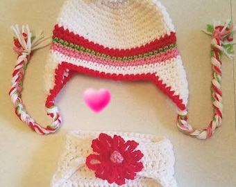 New Born Crochet Flower Earflap Hat For Baby Girl