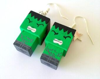 "Earrings Wooden Dolls ""Hulk""- Hand-made"