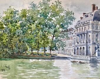 View of a Paris street (antique watercolor painting)