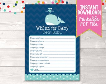 Printable Baby Wishes Card Blue Whale and Chevron Stripes INSTANT DOWNLOAD PDF