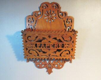 1884 Folk Art Letter Rack Hand Carved Wood w/Provenance Decorative Openwork