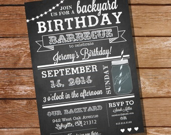 Chalkboard BBQ Birthday Invitation - Instantly Downloadable and Editable File - Personalize and  Print at home with Adobe Reader
