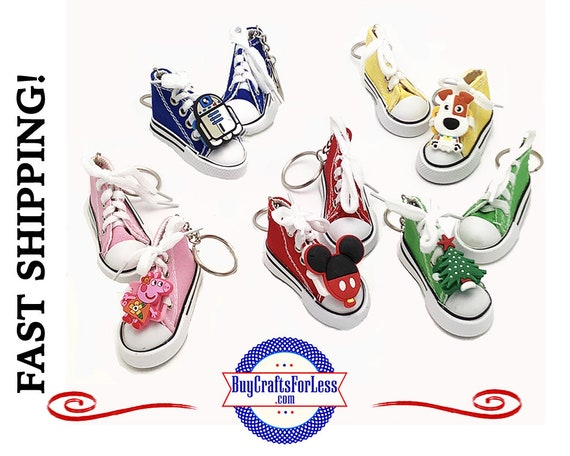 Canvas SNEAKER KeY RiNG with ADAPTER for PVC Charms, choose from 9 Colors +1.99 Shipping & Tracking,Discounts*