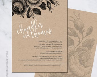 Printed Wedding Invitation Suite Vintage Floral Boho Chic Wedding Invites Antique Flowers Black and White on Kraft Paper Romantic Natural