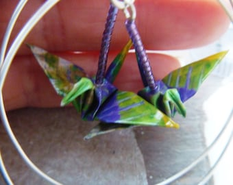 Unique Origami Crane Hoop Earrings sterling hooks –FREE SHIPPING– green & purple recycled-upcycled-reclaimed-repurposed paper #e512 marlisa