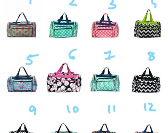 Monogrammed Print Duffel bag- chevron, elephant, arrow, baseball, whale, softball, boat, cow,cactus, 17 inch sized duffle bag