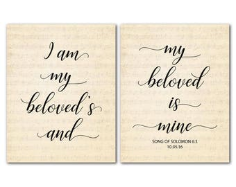 Personalized Anniversary Wedding Gift - I am my beloved's and my beloved is mine - Song of Solomon CANVAS Duo - Scripture bedroom art