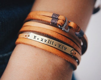 Inspiration Bracelet, Leather Wrap Bracelet, Personalized Bar Bracelet, Roman Numeral Bracelet, Boyfriend Gift, Gift For Him