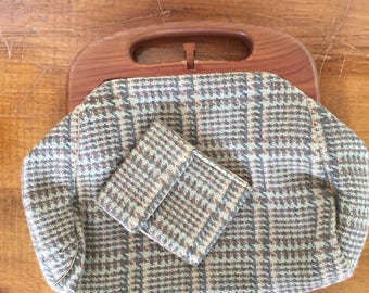 60s tweed wool hand purse with wood handle