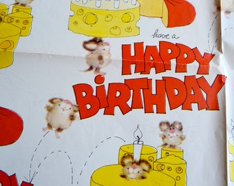 Vintage Wrapping Paper - Happy Birthday Cheese Mice - Unused Sheet