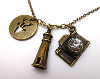 Max Caulfield Life is Strange Charm Necklace with Bronze Dear, Lighthouse, and Camera