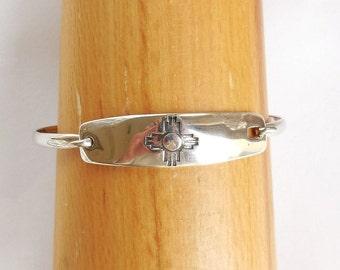 Sterling zia bracelet, medium zia bracelet, southwest petroglyph, sterling bracelet,petroglyph bracelet, zia jewelry, rock art gift