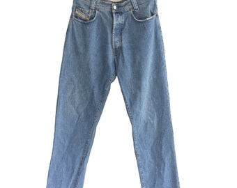 Stone Washed DIESEL New Saddle 1990s Vintage Denim Carrot Jeans W 33 L 34 mGdhl