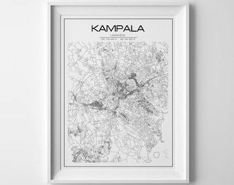 Kampala Uganda, personalized gift, city map print, kampala map, kampala poster, kampala gifts, ugandan art, map decor, uganda, street map