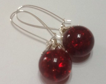 Ruby red crackle glass globe earrings - upcycled vintage fried marble jewellery