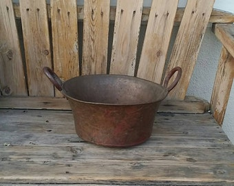 Antique Hammered Copper (Apple Butter Candy) Rounded Bottom Cauldron/Pot/Kettle