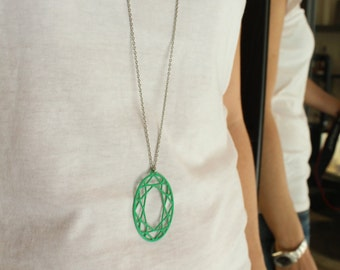 Red pendant green necklace red necklace Oval pendent Diamond Oval shape logn chain Necklace  green necklace