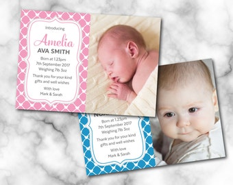 Birth announcement card, Digital File, PDF, DIY, baby thank you card, Boy Thank you, Girl Thank you, new baby printable thank you card