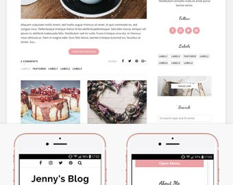 Blogger Template Responsive, Blogger Theme, Minimal, Slider, Simple, Photography, Template for Blogger, Premade, Blogspot - Jenny