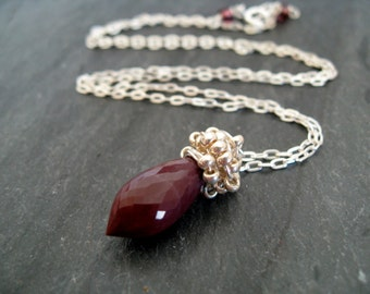 As seen on The Vampire Diaries Caroline Forbes necklace S5E516 red necklace Mookaite VitrineDesigns Oxblood burgundy Candice Accola King