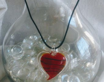 2 Inch Lampwork glass Red heart pendant on black leather cording
