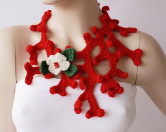 Christmas scarf crochet jewelry crochet necklace,