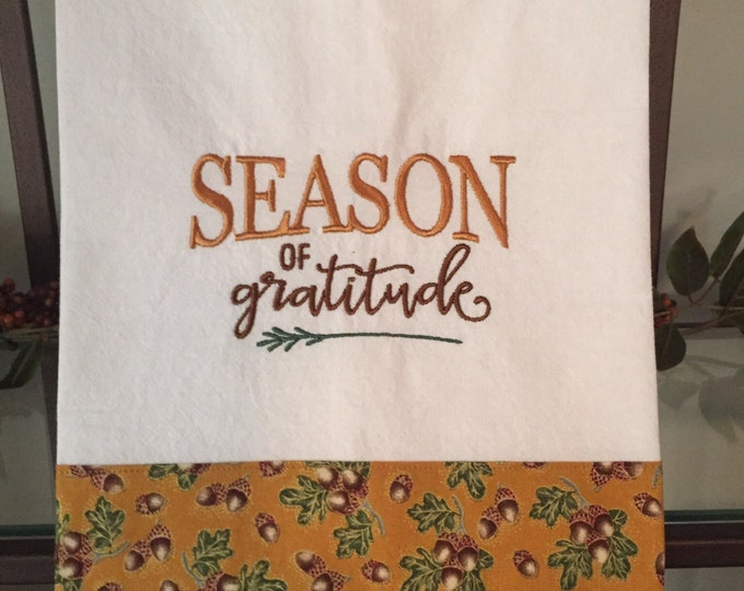 Embroidered Kitchen Towel   Warm Fall Colors!
