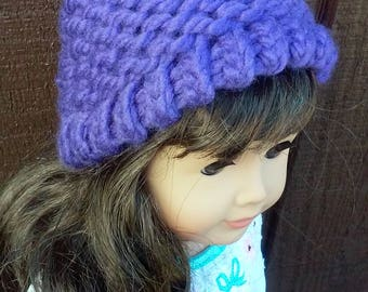 18 inch doll hat // Hat for baby doll // Purple knit hat