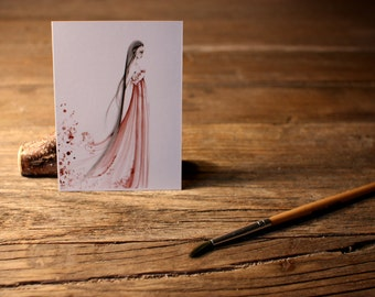 Miniature Art Card Miniature Drawing Artist Trading Card ACEO Girl Print Miniature Collecting Card  Art ACEO Print Original Artwork Mini Art