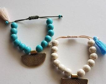 Handmade brass bracelet howlite bracelet adjustable bracelet gift for her boho bracelet ethnic bracelet turquoise jewerly tassel jewerly