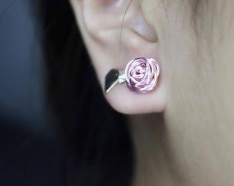 Pink Rose Earring, Wire Rose Earrings, Stud Earrings, Gift, For Her, Bridesmaid