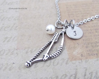 Bow and Arrow Charm Necklace, Personalized Hand Stamped Initial Birthstone Antique Silver Bow and Arrow Charm Necklace