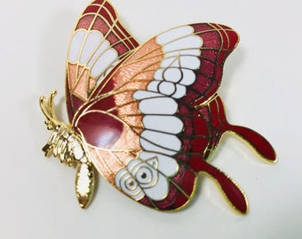 New Red, Pink, White & Gold, Butterfly Cloisonne Brooch