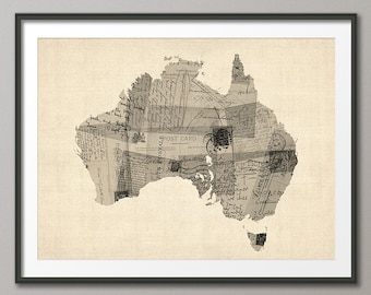 Old Postcard Map of Australia Map, Art Print (1482)