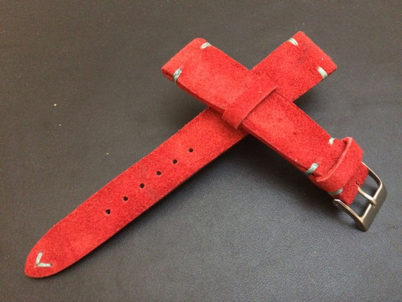 Leather Watch band, Suede Red, Leather watch Strap, Watch Band fits 18mm/19mm/20mm lug, 16mm buckle - Father's Day gift, FREE SHIPPING