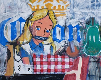 Pop Art Painting Alice in Wonderland Dinner Table and Woman Expressionis