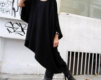 Oversized Loose Extra Large Black Blouse / Asymmetric Tunic Top A01076