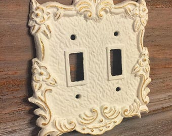 Double Light Switch Plate Cover / Custom Floral Double Switch Plate Cover with Gold Accent/ Cast Iron Switch Plate