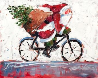 Bicycling Santa