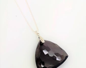 Smoky Quartz Hammered Trillion Pendant (Sterling Silver) - Choice of Chain