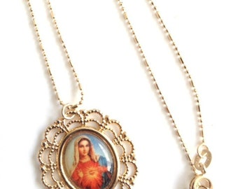 Gold Virgin Mary Necklace, Virgin Mary Gold Pendant, Immaculate Heart of Mary medal, Catholic Jewelry, Virgin Mary Jewelry, Religious medals