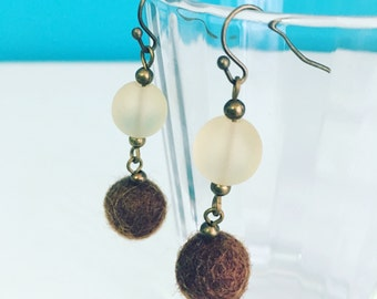 Newport Felt Earrings in Brown, Dangle Earrings, Beach Jewelry, Recycled Glass, Felt Balls, Eco Friendly, Chocolate Earring, Neutral Palette