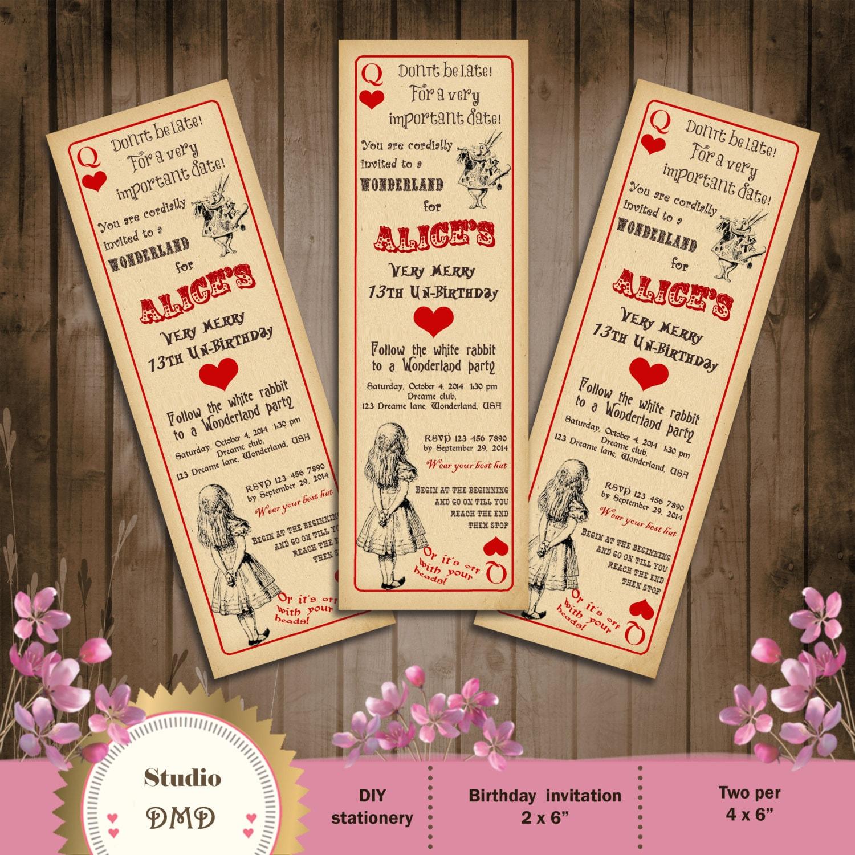 Alice in Wonderland Birthday Party Invitation Vintage Playing