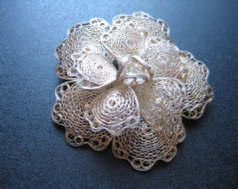 Vintage Sterling Silver Filigree .925 Flower Brooch Mexico