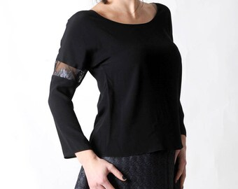 Black crepe top with lace details, Loose black top, Black shirt, Womens clothing, Made to measure