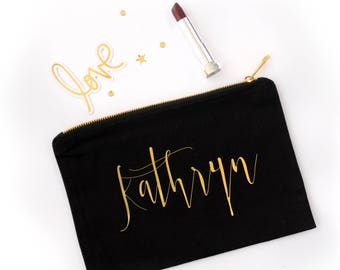 Personalized Calligraphy Cosmetic Bag // Custom Calligraphy Name Makeup Bag //Bridesmaid Gift / Gold or Silver Foil