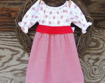 Girls Christmas Dress, Girls Red Dress, Red Lace dress, Kids Holiday Dress, Snowflake Dress